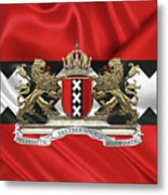 Coat Of Arms Of Amsterdam Over Flag Of Amsterdam Metal Print