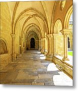 Coimbra Cathedral Colonnade Metal Print