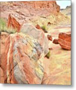 Colorful Boulders In Wash 3 In Valley Of Fire Metal Print