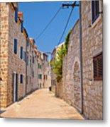 Colorful Mediterranean Stone Street Of Prvic Island Metal Print