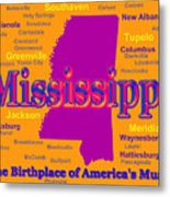 Colorful Mississippi State Pride Map Silhouette  Metal Print