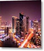 Colorful Night Dubai Marina Skyline, Dubai, United Arab Emirates Metal Print