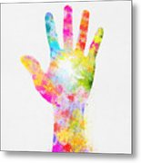 Colorful Painting Of Hand Metal Print