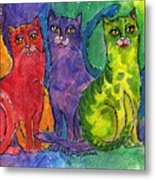 Colourful Cats Metal Print