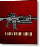 Colt  M 4 A 1  S O P M O D Carbine With 5.56 N A T O Rounds On Red Velvet  Metal Print