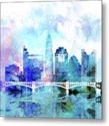 Columbus  Watercolor Skyline Metal Print
