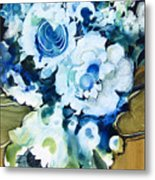 Contemporary Floral In Blue And White Metal Print
