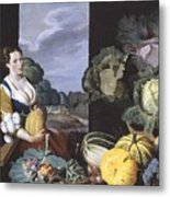 Cookmaid With Still Life Of Vegetables And Fruit Metal Print