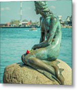 Copenhagen Little Mermaid Metal Print