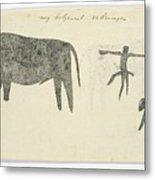 Copies After San Rock-paintings Of An Ox, A Baboon, And A Man, Robert Jacob Gordon, 1777 Metal Print