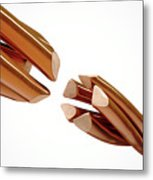 Copper Wire Strands Disconnected Metal Print