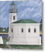 Coquille River Lighthouse At Bandon Oregon Metal Print
