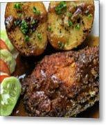 Cordon Bleu Breaded Fried Chicken Gravy And Potatoes Meal Metal Print