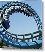 Cork-screw Rollercoaster And Ferris-wheel Metal Print