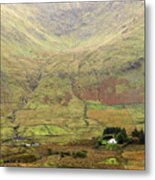 Cottage At The Foothill Of The Colorful Connemara Mountains Ireland  Metal Print