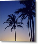 Couple And Sunset Palms Metal Print