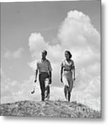 Couple Out Golfing, C.1930s Metal Print