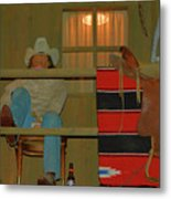 Cowboy On Porch Metal Print