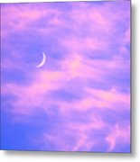 Crescent Moon Behind Cirrus Cloud In The Evening Metal Print