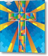 Cross With Dove Metal Print