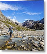 Crossing A River In Patagonia Metal Print