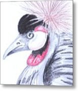 Crowned Crane Metal Print