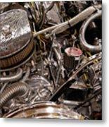Custom Car Chromed Engine Metal Print