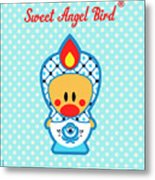 Cute Art - Blue Polka Dot Folk Art Sweet Angel Bird In A Nesting Doll Costume Wall Art Metal Print