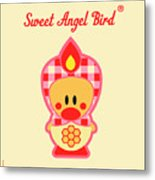 Cute Art - Sweet Angel Bird Honeycomb Matryoshka Wall Art Print Metal Print