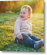 Cute Baby Boy Outdoors Metal Print