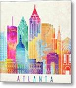 Atlanta Landmarks Watercolor Poster Metal Print