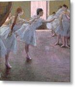 Dancers At Rehearsal Metal Print by Edgar Degas