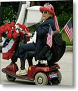 Patriotic Lady On A Scooter Metal Print
