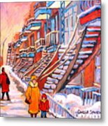 Debullion Street Winter Walk Metal Print