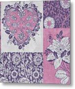 Deco Heart Pink Metal Print