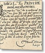 Dedication To Don Lorenzo De' Medici Metal Print