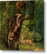 Deer In The Forest, 1868 Metal Print