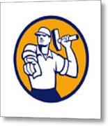 Demolition Worker Hammer Pointing Circle Retro Metal Print