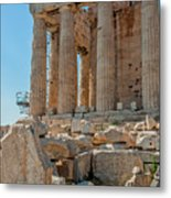 Detail Of The Acropolis Of Athens, Greece Metal Print