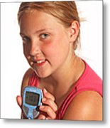 Diabetic Child With Blood Glucose Tester Metal Print