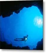 Diver At Cavern Entrance Metal Print