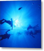 Diver On Mahi Wreck Metal Print