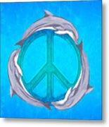 Dolphin Peace Metal Print