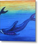 Dolphins At Play Metal Print