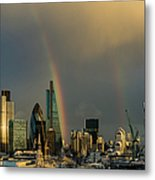 Double Rainbow Over The City Of London Metal Print