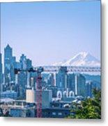 Downtown Cityscape View Of Seattle Washington Metal Print