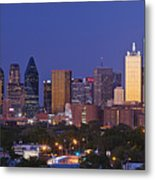 Downtown Dallas Skyline At Dusk Metal Print