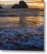 Dramatic Sunset Oregon Coast Usa Metal Print
