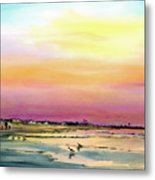 Early Morning Walk  Avalon  Nj Metal Print