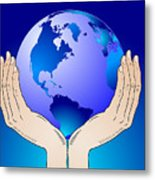Earth In The Your Hands Metal Print